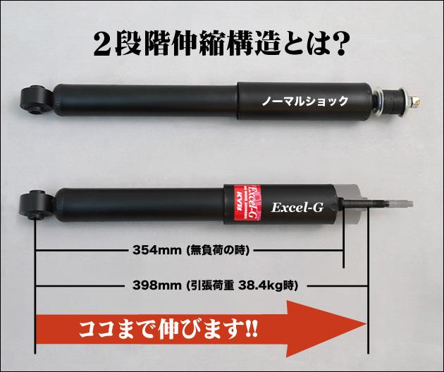 二段階伸縮構造とは? 無負荷の時:354mm 引張荷重 38.4kg時:398mm ココまで伸びます!!